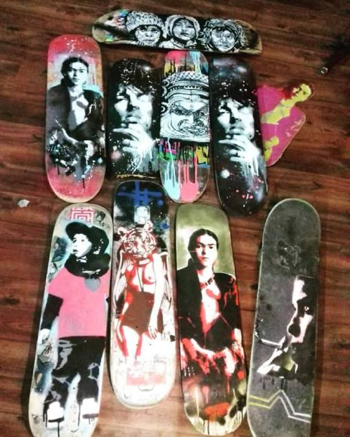 Stencils on skateboards (2016).