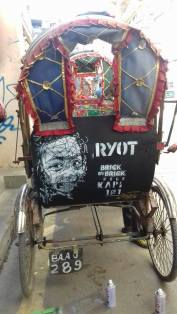 Face (2015), stencil on rickshaw.