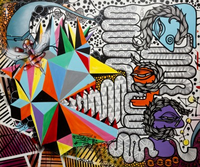 Untitled (collaboration with Shradda Shrestha and Anish Bajrcharya), 60 x 60 inches, mixed media on canvas.