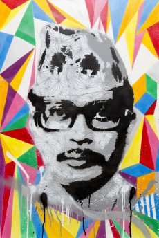 Naryan Gopan (2013), 24 x 36 inches, mixed media on canvas.