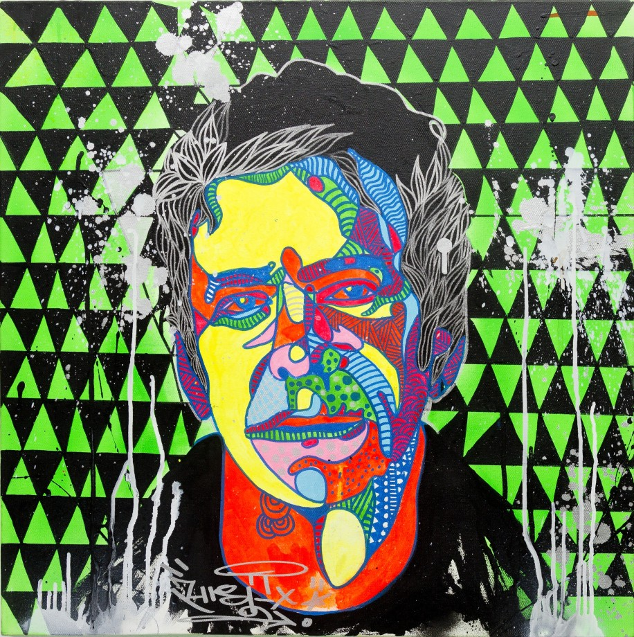 Lou Reed (2013), 24 x 24 inches, mixed media on canvas.