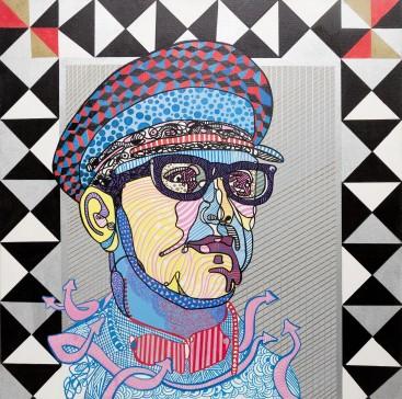 Royal Pop & Son, 36 x 36 inches, acrylic on canvas.