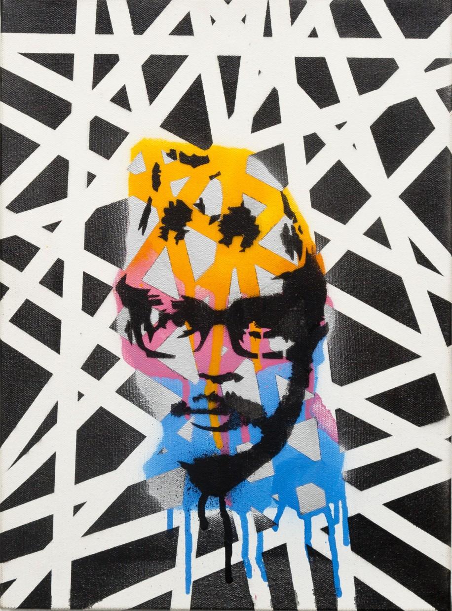 Naryan Gopal (2013) 12 x 15 inches, stencil on canvas.