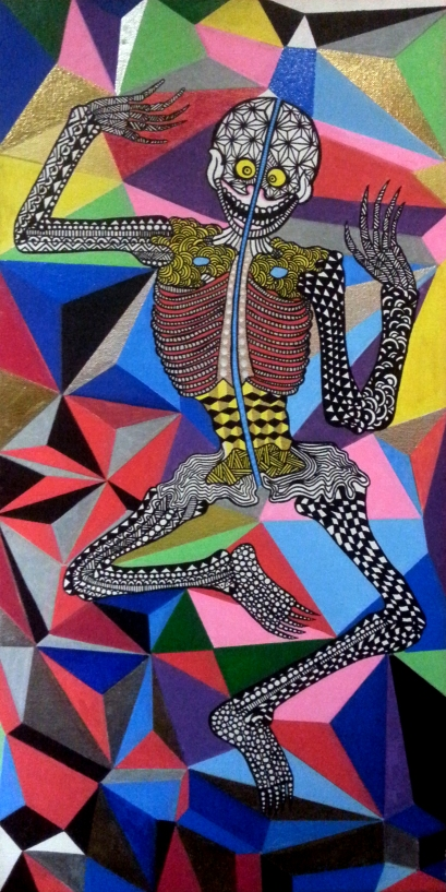 Dancing Death (2013) 15 x 24 inches, acrylic on canvas.