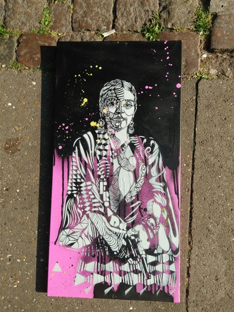Frida (2016), 36 x 15 inches, stencil on canvas.