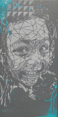 Face (2016), 36 x 15 inches, stencil on canvas
