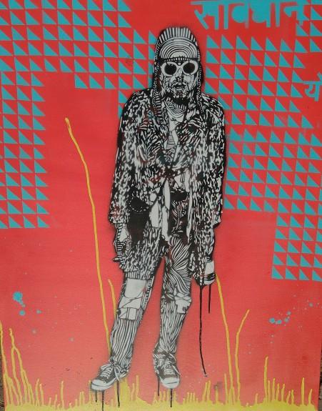Kurt (2016), 42 x 42 inches. stencil on canvas