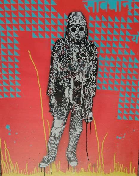 Kurt (2016), 42 x 42 inches. stencil on canvas