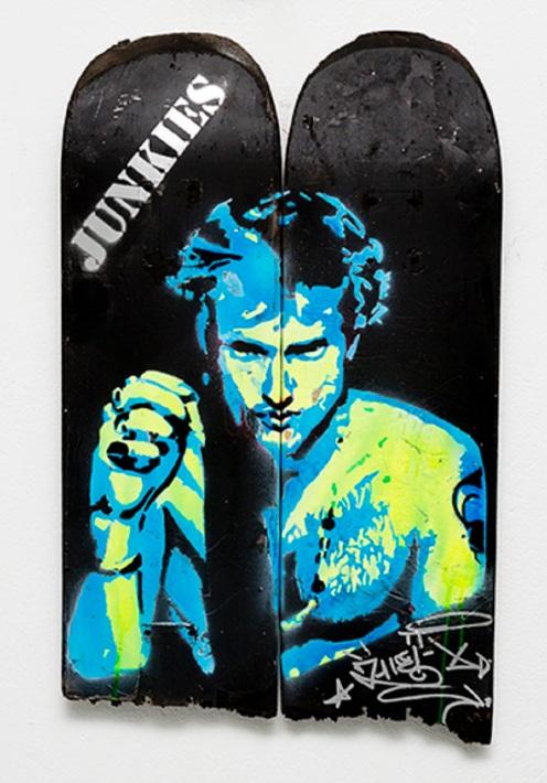Layne Staley (2013), stencil on skateboard.