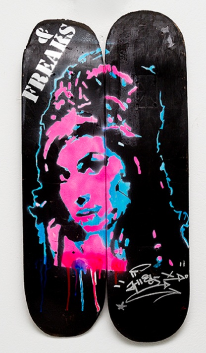 Amy Winehouse (2013), stencil on skateboard.