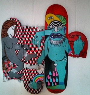 Afternoon Tea (2013), acrylic on skateboards.