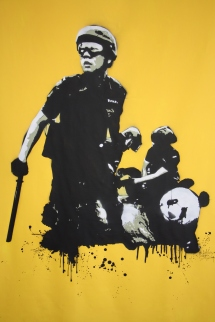 Yellow Panda (2014), 72 x 48 inches, stencil on canvas.