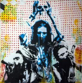 Saddhus (2013), 60 x 60 inches, stencil on canvas.