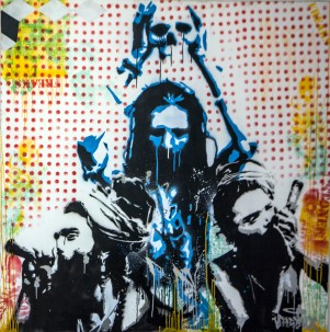Saddhus (2013), 60 x 60 inches, stencil on canvas.