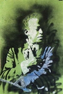 Miles Davis (2014), stencil on Nepali paper.