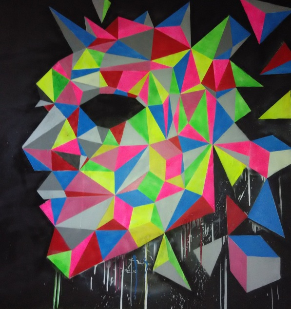 Geometrical Face (2013), 60 x 60 inches, mixed media on canvas.