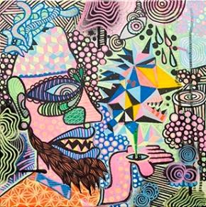 Urban Kancha (2013), 12 x 12 inches, mixed media on canvas.