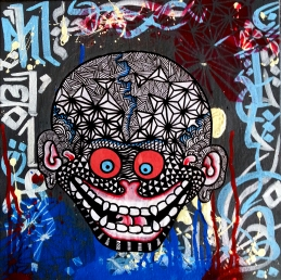 Tibetan Skull (2013), 12 x 12 inches, mixed media on canvas.