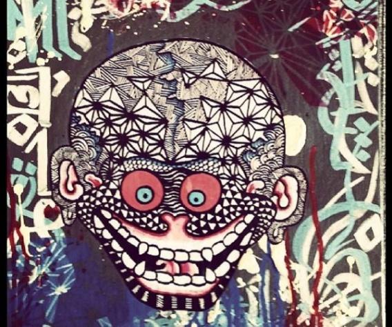 Tibetan Skull (2013), mixed media on canvas.