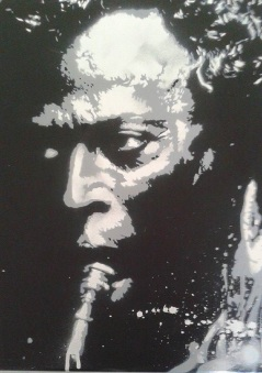 Chrome Miles (2015), 20 x 30 inches, stencil on canvas.