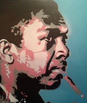 John Coltrane (2015), 20 x 30 inches, stencil on canvas.